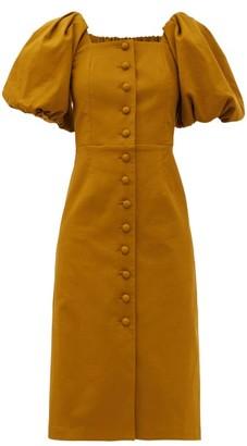 Sea Marianne Puff-sleeve Buttoned Cotton Dress - Green