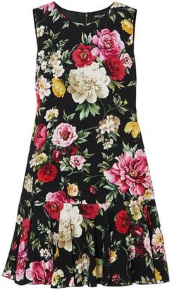 Dolce & Gabbana Fluted Floral-print Crepe Mini Dress