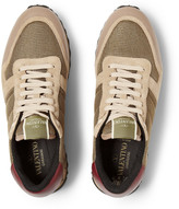 Valentino Leather-Trimmed Mesh, Suede and Calf-Hair Sneakers