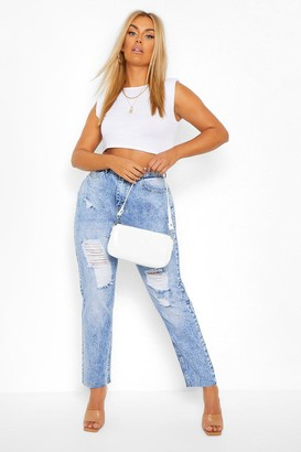boohoo Plus Vintage Wash Distressed Straight Leg Jean
