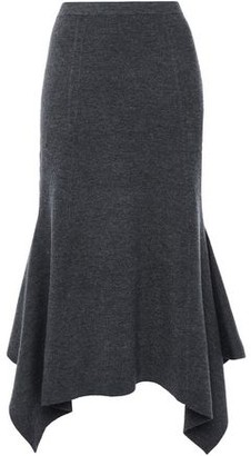 Sandro Flared Asymmetric Ribbed-knit Midi Skirt