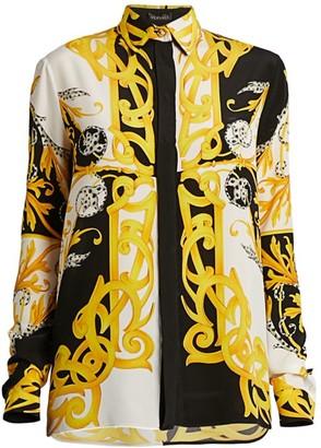 Versace Acanthus Silk Button-Down Shirt