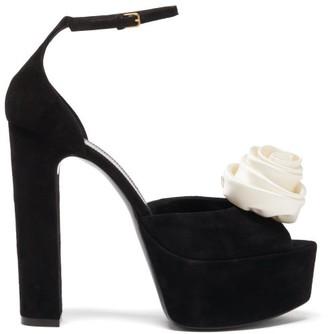 Saint Laurent Jodie Rose-embellished Suede Platform Sandals - Black White