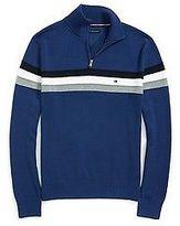 Tommy Hilfiger Men's Stripe Half Zip Mock Sweater