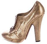 Nina Ricci Metallic Lace-Up Booties
