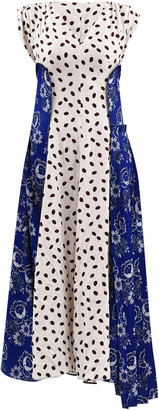 Marni Dual Print V-Neckline Satin Dress
