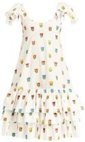 Carolina Herrera Ruffle-Sleeve Scoopneck Bustier Dress