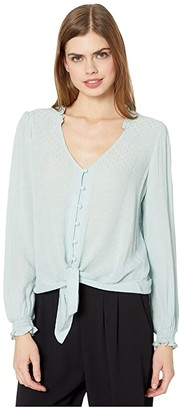 1 STATE 1.STATE Long Sleeve Crinkle Dobby Button-Down Tie Front Blouse (Dusty Mint) Women's Clothing