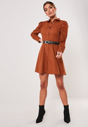 Missguided Rust Puff Sleeve Skater Shirt Dress