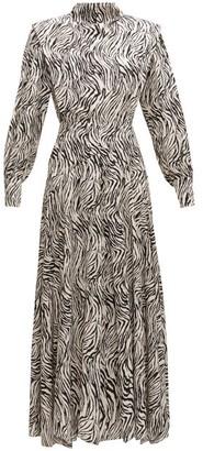 Isabel Marant Zakae Zebra-print Silk-blend Dress - White Print
