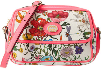 Gucci Small Flora Canvas & Leather Shoulder Bag