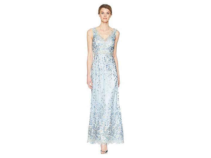 Tahari ASL Embroidered Sleeveless Gown