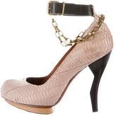 Lanvin Python Chain Ankle-Strap Pumps