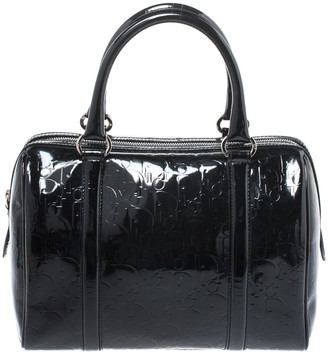 Christian Dior Black Oblique Monogram Patent Leather Boston Bag