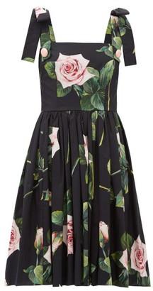 Dolce & Gabbana Tropical Rose-print Cotton-poplin Dress - Black Print