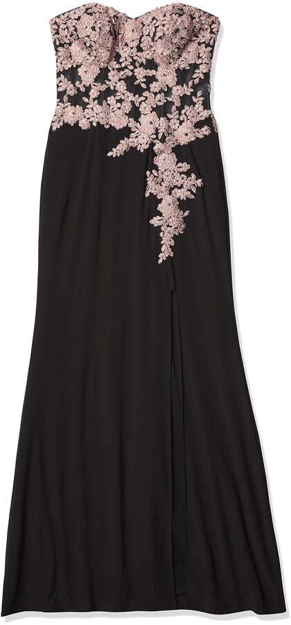 Thumbnail for your product : Blondie Nites Women's Long Slim Strapless Applique