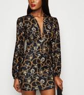 New Look Missfiga Animal Print Plunge Dress