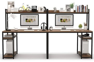17 Stories Fleckenstein Desk with Hutch Color: Walnut