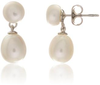 Auree Jewellery Glebe Double White Pearl & Sterling Silver Drop Earrings