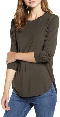 Halogen Long Sleeve Shirttail Hem Shirt (Regular & Petite)
