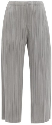 Pleats Please Issey Miyake High-rise Technical-pleated Wide-leg Trousers - Mid Grey