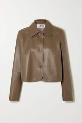 Loewe Cropped Leather Jacket - Green