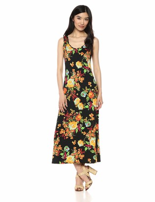 MSK Women's Scoop Neck Long Maxi Dress with Floral Motif