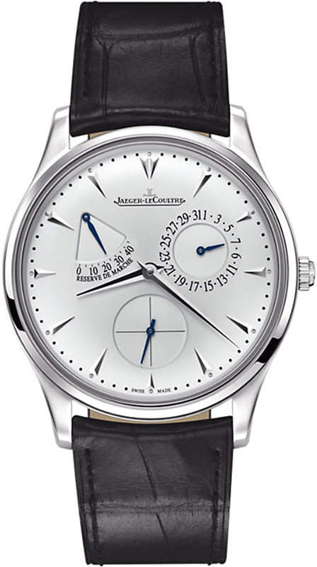 Jaeger-LeCoultre Q1378420 Ultra Thin Reserve de Marche stainless steel and leather watch