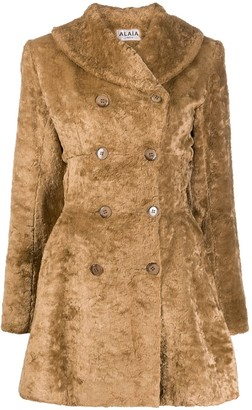 Alaïa Pre Owned Fur Effect Double-Breasted Coat
