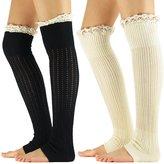 Zando Women's Knitted Lace Boot Cuffs Thigh High Socks Crochet Long Leg Warmers