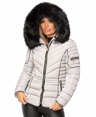 Wulux Womens Ladies Quilted Puffer Bubble Padded Chunky Faux Fur Hooded Belted Warm Winter Thick Heavy Parka Down Bomber Jacket Coat Grey UK Size M/10