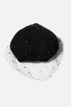 Jennifer Behr Crystal-embellished Mesh And Mohair Beret - Black