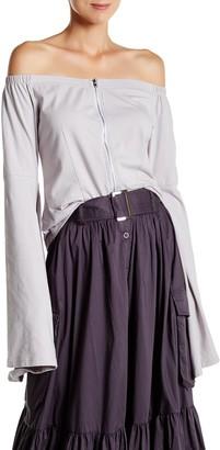 Tov Off-The-Shoulder Zip Blouse