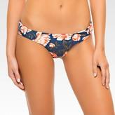 Women's Floral Brazilian Cut Hipster Bikini Bottom - Indigo Blue - Tori Praver Seafoam