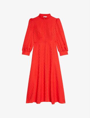 Sandro Raya logo-jacquard flared woven midi dress