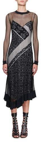 Altuzarra Kleber Fishnet Long-Sleeve Bandana-Print Midi Dress