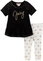 Juicy Couture Dot Sleeve Tunic & Heart Print Legging Set (Baby Girls)