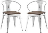 Modway Promenade Bamboo & Steel Dining Chair - Set of Two