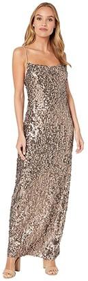WAYF Amy Cowl Neck Dress (Bronze Sequin) Women's Clothing