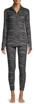 Hanes Women's Knit Thermal Zip Top Shirt and Leggings Sleep Set