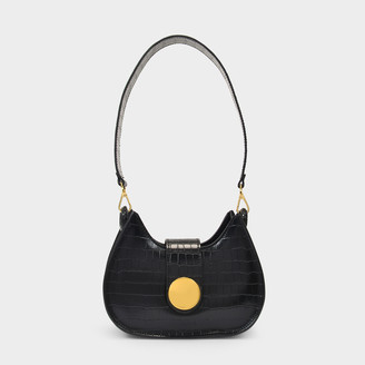 Elleme Saddle Bag New Tambour In Black Leather Embossed Croc