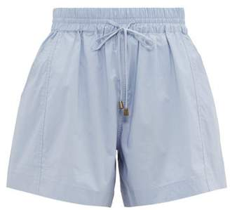 Apiece Apart Trail A-line Cotton Shorts - Womens - Light Blue