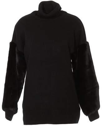 MICHAEL Michael Kors Fur Insert Turtleneck Sweater