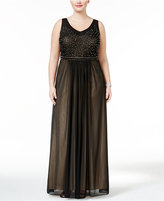 Xscape Evenings Plus Size Beaded Mesh Gown