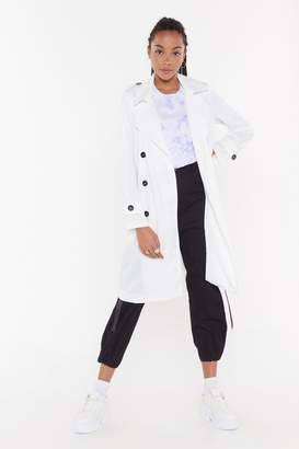 Nasty Gal Womens Belted Trench - white - L