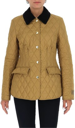 Burberry Corduroy Collar Diamond Quilted Barn Jacket