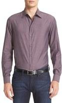 Armani Collezioni Men's Trim Fit Tonal Herringbone Sport Shirt