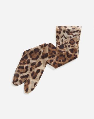 Dolce & Gabbana Leopard-Print Nylon Socks
