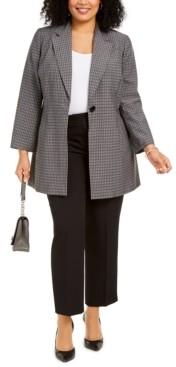 Le Suit Plus Size Glen Plaid Pantsuit