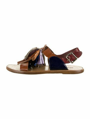 Isabel Marant Leather Kiltie Ankle Strap Sandals Brown